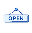 open door sign line icon vector image