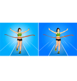 The winner in woman running Athletics game vector image