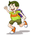 a boy with school bag vector image vector image
