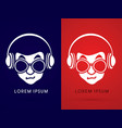 face with glasses and headphone vector image