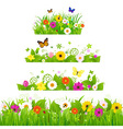 Grass With Flowers Set vector image vector image