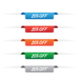 20 percent off paper tag labels vector image