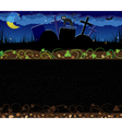 Night cemetery and black cat vector image