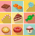 Candy sweets and cakes icons poster vector image