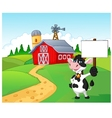 Cartoon cow holding blank sign with farm backgroun vector image