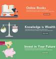 Flat design concepts for online book online vector image vector image