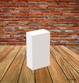 Blank white box mock up on wood background vector image