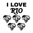 brazil i love rio design with text and hearts in vector image