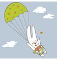 Bunny parachutist vector image