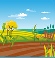 cultivated agriculture field rural landscape vector image