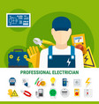 electrician flat icons set vector image