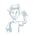 young man character design programmer with pencil vector image