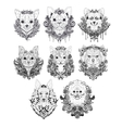 Hand drawn dog faces vector image