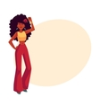 Young african woman in 1960s style trousers vector image