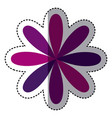 purple flower with oval petals icon vector image