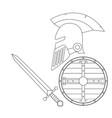 helmet sword and shiel vector image
