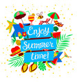 enjoy summer time lettering beach holidays banner vector image vector image