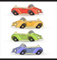set of colorful toy cars isolated on whit vector image
