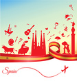 spain background with flag and symbol vector image vector image