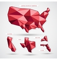 Red geographic business map isolated on white vector image vector image