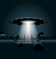 Aliens on a planet a flying unidentified ship with vector image