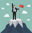 Businessman with flag on a Mountain peak vector image