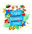 enjoy summer time lettering beach holidays banner vector image
