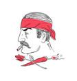 mexican guy cigar hot chili rose drawing vector image