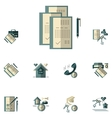 Rent of property flat color icons vector image