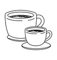 set big and small cup of coffee with handle vector image