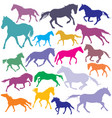 big set colorful trotting and galloping horses vector image