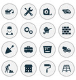industry icons set collection of cogwheel carry vector image