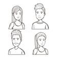 hand drawn people set vector image