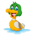 funny baby duck cartoon vector image