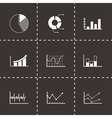black diagrams icons set vector image