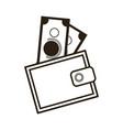 cartoon wallet with money cash image vector image
