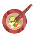 Chili Garlic and Lime in Wooden Mortar vector image