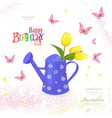 cute can watering with bouquet of tulips and vector image