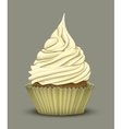 Delicious cupcake which stacked cream vector image