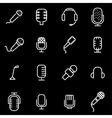 line microphone icon set vector image