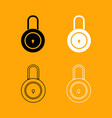 lock black and white set icon vector image