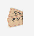 old ticket with grunge effect flat on white vector image