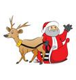 santa claus waving from reindeer drawn cart vector image