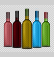 set of realistic wine bottle on a transparent vector image