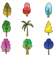 flat of tree various doodles vector image