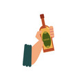 flat style icon with male hand holding beer bottle vector image