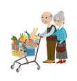 happy grandparents in the shop vector image