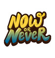 now or never hand drawn lettering isolated on vector image