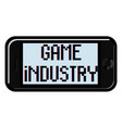 color vintage game industry emblem vector image
