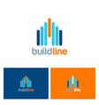 Building line color logo vector image